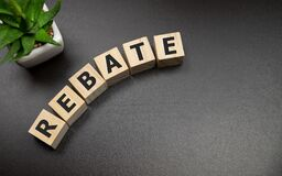 Free Rebate Word On Wooden Cubes, Business Concept Stock Image - 184278951