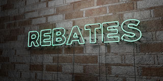 Free REBATES - Glowing Neon Sign On Stonework Wall - 3D Rendered Royalty Free Stock Illustration Stock Photography - 86487872