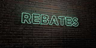 Free REBATES -Realistic Neon Sign On Brick Wall Background - 3D Rendered Royalty Free Stock Image Royalty Free Stock Photography - 87920447
