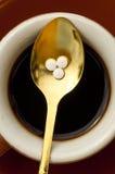 Rebaudiana do Stevia, sustentação para o açúcar, tabuletas Imagem de Stock