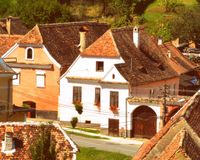 Rebecca 36 Casa típica na vila Biertan, a Transilvânia Foto de Stock Royalty Free