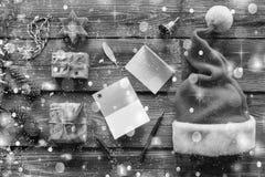 Rebecca 36 Noël Nouvelle année, Santa Claus, cadeaux, lettre, célébration, vue supérieure photo stock