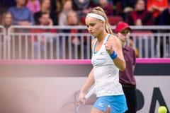 Rebecca Sramkova, pendant jeu rond du groupe II du monde le premier entre l'équipe Lettonie et l'équipe Slovaquie images stock