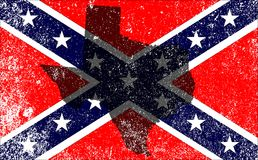 Rebel Civil War Flag Texas Map. The flag of the confederates during the American Civil War with Texas map silhouette overlay Stock Photos