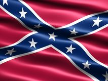 Rebel flag. Computer generated illustration of the the Confederate , Rebel, or Dixie Flag with silky appearance and waves royalty free illustration