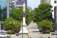 Rebel Flag and Confederate Monument Before South Carolina Capitol. Rebel flag serves as a backdrop to Confederate monument on South Carolina State Capitol Stock Photography