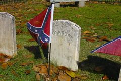 Rebel Flag On Grave of Unknown Soldier Royalty Free Stock Photos
