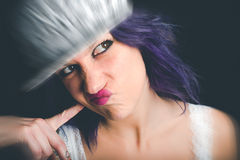 Rebel. Grimace of a rebel young girl Royalty Free Stock Photo