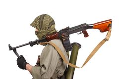 Rebel with machine gun Royalty Free Stock Image