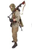 Rebel with machine gun. Isolated on white royalty free stock photos