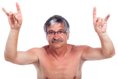 Rebel man gesturing. Naked middle aged man rebel gesturing, isolated on white background Royalty Free Stock Photo
