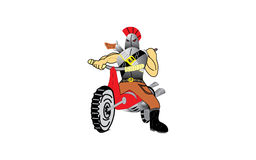 Rebel on a motorcycle. An illustration of a wild looking bandit, rebel on a dirt motorcycle, with a shotgun on his back Royalty Free Stock Image
