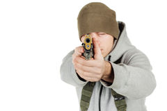 Rebel or private military contractor holding black gun. war, arm royalty free stock image