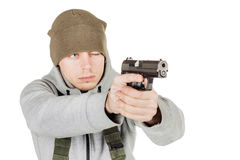 Rebel or private military contractor holding black gun. war, arm royalty free stock photos