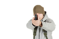 Rebel or private military contractor holding black gun. war, arm royalty free stock photo
