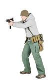 Rebel or private military contractor holding black gun. war, arm stock images