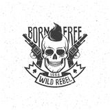 Rebel skull with pistols Stock Photography