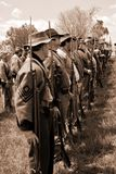 Rebel Soldiers at attention for Inspection - Bedford, Virginia stock photos