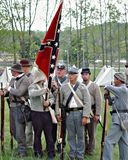 "Rebel Soldiers Gathering for the ""Battle of Liberty"" - Bedford, Virginia. Bedford County, Virginia, USA – April 29th: Reenactors Gathering for royalty free stock images"