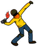 Rebel Throwing Molotov Cocktail. Person throwing a petrol bomb. Men, showing his dissatisfaction with the ruling powers by throwing a molotov cocktai Stock Images