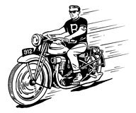 Rebel on vintage motorcycle Stock Photography