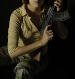 Rebel woman with gun 3 Stock Images