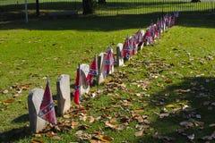 Rebell kennzeichnet Ehrengräber von unbekannten Bürgerkrieg-Soldaten Lizenzfreies Stockbild