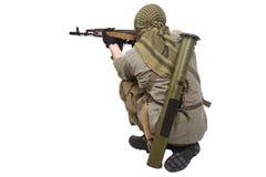 Rebell med AK 47 royaltyfria bilder