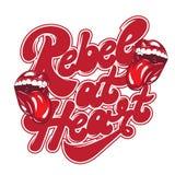 Rebell på hjärta Handskriven bokstäver för vektor med den hand drog illustrationen av munnen med tungan vektor illustrationer