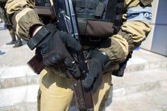 Rebellensoldat in Ukraine Stockbild
