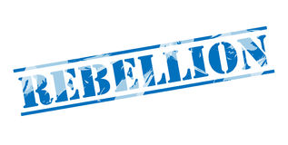 Rebellion blue stamp. Isolated on white background Stock Images