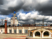 Rebellious day. Orthodox temple on a square of Khabarovsk Royalty Free Stock Photography