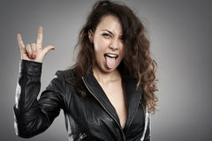 Rebellious rock chick Stock Photo