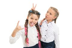 Rebellious spirit. Hairstyles school style. Girls long braids. Fashion trend. It is awesome dye hair fun colors. Keep. Hair braided for tidy look. Pupils with royalty free stock images