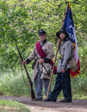 Rebels. Civil War era soldiers during a battle at the Dog Island reenactment in Red Bluff, California Stock Photo
