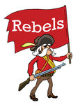 Rebels with red flag Stock Images