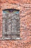 Reben über Ziegelstein u. verschaltem Fenster Lizenzfreie Stockfotos