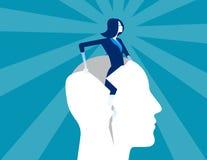 rebirth Da mulher de negócios cabeça humana do formulário para fora Ilustração do vetor do negócio do conceito ilustração do vetor