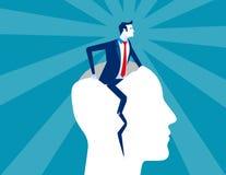 rebirth Do homem de negócios cabeça humana do formulário para fora Ilustração do vetor do negócio do conceito ilustração stock