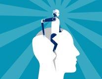 rebirth Do robô cabeça humana do formulário para fora Ilustração do vetor do negócio do conceito ilustração stock