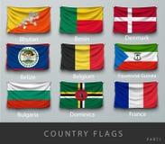 Rebitou a bandeira de país enrugada com sombras e parafuso Imagem de Stock Royalty Free