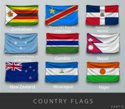 Rebitou a bandeira de país enrugada com sombras e parafuso Imagens de Stock