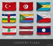 Rebitou a bandeira de país enrugada com sombras e parafuso Fotografia de Stock Royalty Free