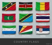 Rebitou a bandeira de país enrugada com sombras e parafuso Imagem de Stock