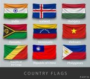 Rebitou a bandeira de país enrugada com sombras e parafuso Fotos de Stock Royalty Free