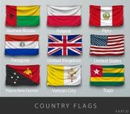 Rebitou a bandeira de país enrugada com sombras e parafuso Imagens de Stock Royalty Free