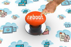 Reboot against orange push button Royalty Free Stock Photo