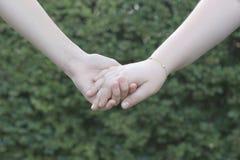 Reboque as mãos das terras arrendadas das meninas em um fundo verde Fotos de Stock Royalty Free