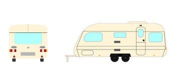 Reboque de acampamento dianteiro e vista lateral isolada ilustração do vetor