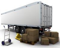 Reboque do frete e caixas de transporte Fotos de Stock Royalty Free
